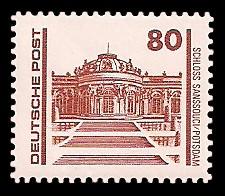 80 Pf Briefmarke: Freimarke Bauwerke, Schloss Sanssouci