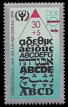 30 + 5 Pf (auf 10+5 Pf) Briefmarke: Internationales Jahr der Alphabetisierung 1990