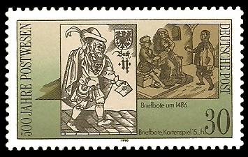 30 Pf Briefmarke: 500 Jahre Postwesen, Briefbote 15.Jh.