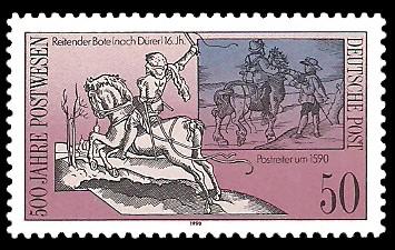 50 Pf Briefmarke: 500 Jahre Postwesen, Postreiter 16.Jh.