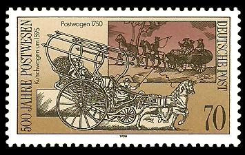 70 Pf Briefmarke: 500 Jahre Postwesen, alter Postwagen
