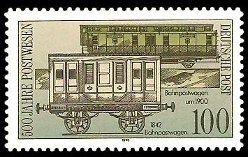 100 Pf Briefmarke: 500 Jahre Postwesen, Bahnpostwagen