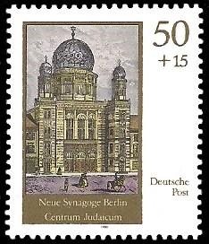 50 + 15 Pf Briefmarke: Neue Synagoge Berlin