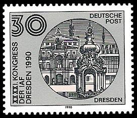 30 Pf Briefmarke: XXXXI. Kongress der IAF Desden 1990, Dresden