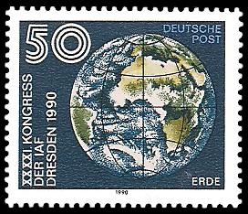 50 Pf Briefmarke: XXXXI. Kongress der IAF Desden 1990, Erde