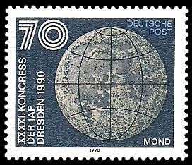 70 Pf Briefmarke: XXXXI. Kongress der IAF Desden 1990, Mond