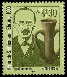 30 Pf Briefmarke: Heinrich-Schliemann-Ehrung 1990