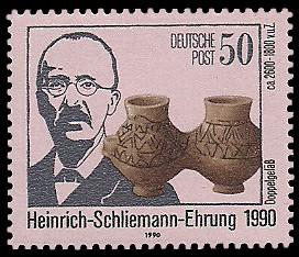 50 Pf Briefmarke: Heinrich-Schliemann-Ehrung 1990