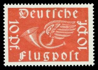 10 Pf Briefmarke: Deutsche Flugpost, Posthorn
