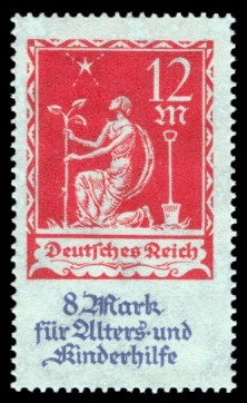 12 + 8 M Briefmarke: Alters- und Kinderhilfe