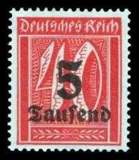 5 Tsd. auf 40 Pf Briefmarke: Große Ziffernzeichnung, 40 - mit Aufdruck 5 Tsd