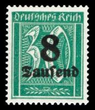 8 Tsd. auf 30 Pf Briefmarke: Große Ziffernzeichnung, 30 - mit Aufdruck 8 Tsd