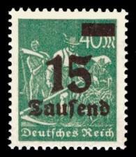 15 Tsd. auf 40 M Briefmarke: Arbeiter, Bauer, 40 M - mit Aufdruck 15 Tsd