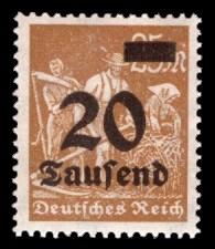20 Tsd. auf 25 M Briefmarke: Arbeiter, Bauer, 25 M - mit Aufdruck 20 Tsd