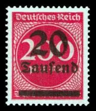 20 Tsd. auf 200 M Briefmarke: Ziffern im Kreis, 200 M - mit Aufdruck 20 Tsd