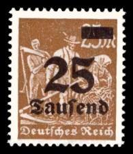 25 Tsd. auf 25 M Briefmarke: Arbeiter, Bauer, 25 M - mit Aufdruck 25 Tsd