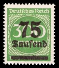 75 Tsd. auf 300 M Briefmarke: Ziffern im Kreis, 300 M - mit Aufdruck 75 Tsd