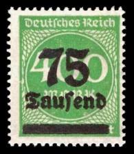 75 Tsd. auf 400 M Briefmarke: Ziffern im Kreis, 400 M - mit Aufdruck 75 Tsd