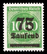 75 Tsd. auf 1000 M Briefmarke: Ziffern im Kreis, 1000 M - mit Aufdruck 75 Tsd