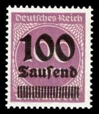 100 Tsd. auf 100 M Briefmarke: Ziffern im Kreis, 100 M - mit Aufdruck 100 Tsd