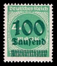 100 Tsd. auf 400 M Briefmarke: Ziffern im Kreis, 400 M - mit Aufdruck 100 Tsd