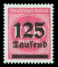 125 Tsd. auf 1000 M Briefmarke: Ziffern im Kreis, 1000 M - mit Aufdruck 125 Tsd