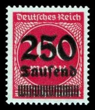 250 Tsd. auf 200 M Briefmarke: Ziffern im Kreis, 200 M - mit Aufdruck 250 Tsd