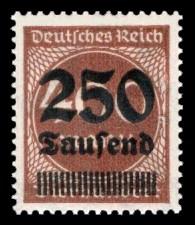 250 Tsd. auf 400 M Briefmarke: Ziffern im Kreis, 400 M - mit Aufdruck 250 Tsd