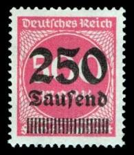 250 Tsd. auf 500 M Briefmarke: Ziffern im Kreis, 500 M - mit Aufdruck 250 Tsd