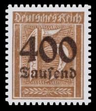 400 Tsd. auf 15 Pf Briefmarke: Große Ziffernzeichnung, 15 - mit Aufdruck 400 Tsd
