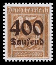 400 Tsd. auf 25 Pf Briefmarke: Große Ziffernzeichnung, 25 - mit Aufdruck 400 Tsd