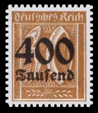 400 Tsd. auf 30 Pf Briefmarke: Große Ziffernzeichnung, 30 - mit Aufdruck 400 Tsd