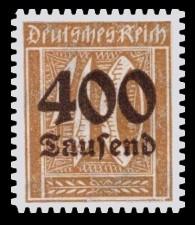 400 Tsd. auf 40 Pf Briefmarke: Große Ziffernzeichnung, 40 - mit Aufdruck 400 Tsd