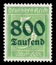 800 Tsd. auf 5 Pf Briefmarke: Große Ziffernzeichnung, 5 - mit Aufdruck 800 Tsd
