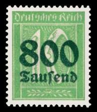 800 Tsd. auf 10 Pf Briefmarke: Große Ziffernzeichnung, 10 - mit Aufdruck 800 Tsd