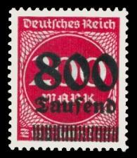 800 Tsd. auf 200 M Briefmarke: Ziffern im Kreis, 200 M - mit Aufdruck 800 Tsd