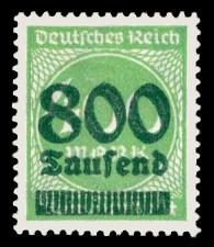 800 Tsd. auf 400 M Briefmarke: Ziffern im Kreis, 400 M - mit Aufdruck 800 Tsd