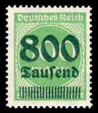800 Tsd. auf 500 M Briefmarke: Ziffern im Kreis, 500 M - mit Aufdruck 800 Tsd