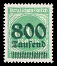 800 Tsd. auf 1000 M Briefmarke: Ziffern im Kreis, 1000 M - mit Aufdruck 800 Tsd