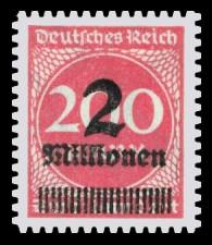 2 Mio. auf 200 M Briefmarke: Ziffern im Kreis, 200 M - mit Aufdruck 2 Mio