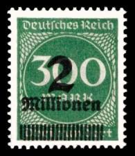 2 Mio. auf 300 M Briefmarke: Ziffern im Kreis, 300 M - mit Aufdruck 2 Mio