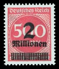 2 Mio. auf 500 M Briefmarke: Ziffern im Kreis, 500 M - mit Aufdruck 2 Mio