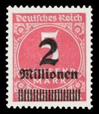 2 Mio. auf 5000 M Briefmarke: Ziffern im Kreis und Posthorn, 5 Tsd. M - mit Aufdruck 2 Mio
