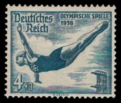 4 + 3 Pf Briefmarke: Olympische Sommerspiele 1936, Turmspringerin