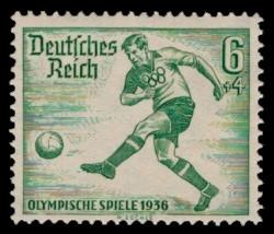 6 + 4 Pf Briefmarke: Olympische Sommerspiele 1936, Fußballspieler