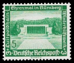 5 + 3 Pf Briefmarke: Winterhilfswerk, Bauten, Luitpoldhain