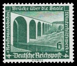 6 + 4 Pf Briefmarke: Winterhilfswerk, Bauten, Reichsautobahnbrücke über die Saale