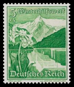 5 + 3 Pf Briefmarke: Winterhilfswerk, Landschaften mit Blumen, Zell am See