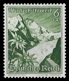 6 + 4 Pf Briefmarke: Winterhilfswerk, Landschaften mit Blumen, Grossglockner