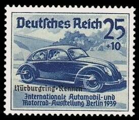 25 + 10 Pf Briefmarke: Nürburgring-Rennen